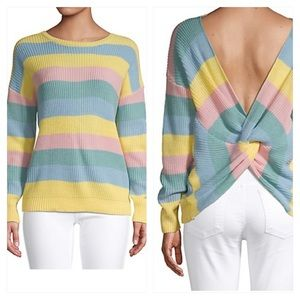 Lord & Taylor Rainbow Stripe Knot Back Sweater